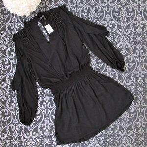 NWT Black Gold BOHO Smocked Cold Shoulder Dress XS
